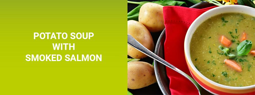 Potato soup with smoked salmon
